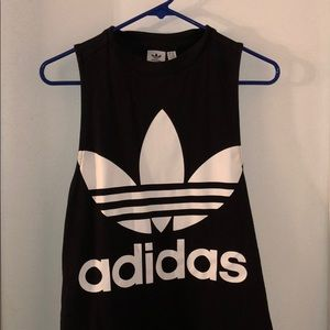Adidas black and white muscle t
